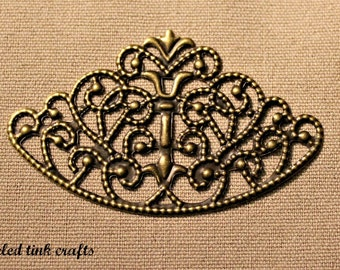 Decorative Arch Filigree Metal Embellishment With Swirls Design, Antique Bronze Finish