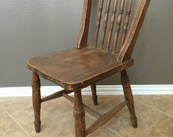 Antique Vintage Old Wooden Spindle Chair. Handcrafted. England.