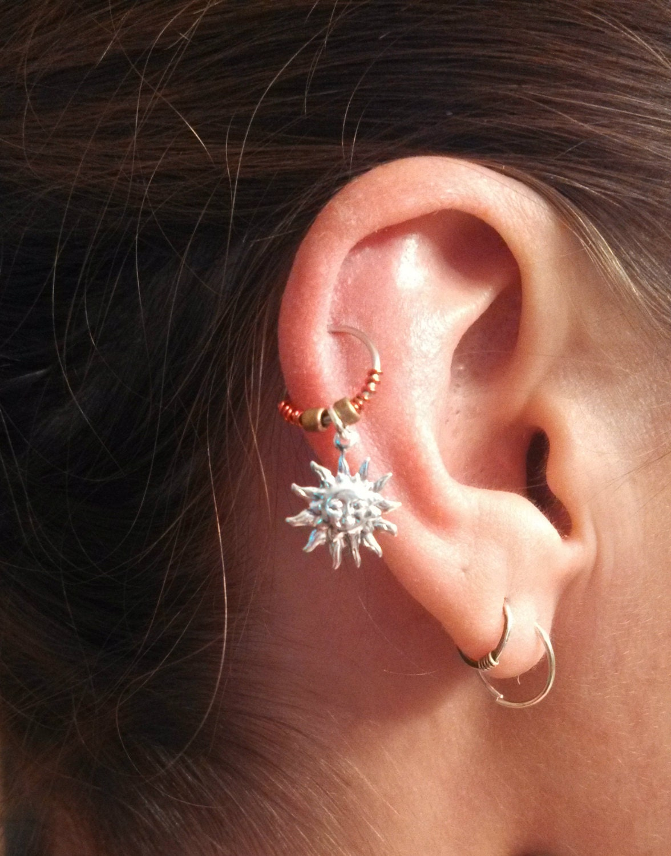 sun cartilage hoop earring boho tragus helix celestial
