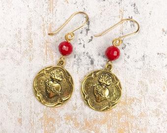 Sacred heart earrings, sagrado corazon, religious earrings