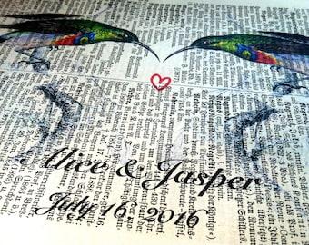 Engagement Gift   Wedding Gift   Gift for Wife   Valentine Gift   Art Print   Book Art   Husband Gift   Birds Love   Housewarming Gift