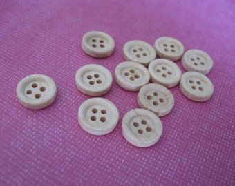Natural unfinished wood button set of 12 small buttons 10mm  (BB119E