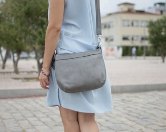 Small leather bag - Small leather crossbody bag - Grey leather bag - SMALL HELEN