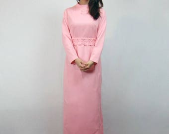 Pink Long Sleeve Maxi Dress 70s Party Dress Women Floor Length 1970s Maxi - Large to Extra Large L XL