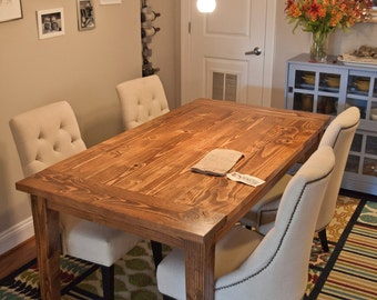 6' Farmhouse Table   Solid Wood Farmhouse Dining Table with Breadboards   Kitchen Table   Built to Order   Rustic Harvest