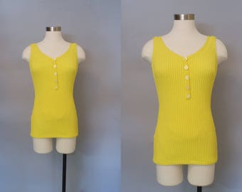 Sunshine's Here 1950s Cole of California Bombshell Bathing Suit / 1950s Pinup Swimsuit / Yellow Swimsuit