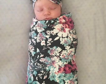 Gift set-floral headband and swaddle blanket-photography prop- receiving blanket