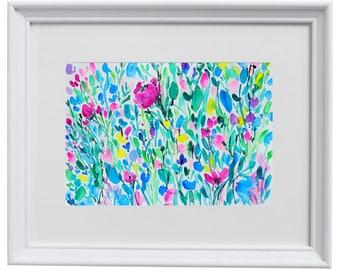 Landscape, Floral, Download Printable Wall Art Watercolor spring flowers, rose Instant image Download Digital, wall art