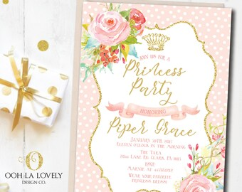 Princess Invitation, Princess Party Invitation, First Birthday Invite, Printable, DIY, Crown Invite, Floral