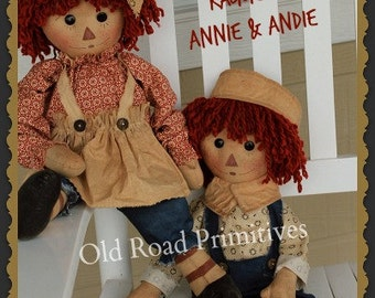 Primitive Pattern Raggedy Ann Pattern and Andy Rag Doll Cloth Doll PDF Sewing Pattern