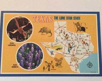 Texas Map POSTCARD / Vintage Map of Texas Souvenir Postcard Unused unposted
