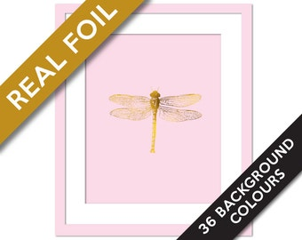 Dragonfly Art Print - Gold Foil Print - Dragonfly Illustration - Gold Nursery Art - Insect Art Print - Dragonfly Wall Decor - Dragonfly Art