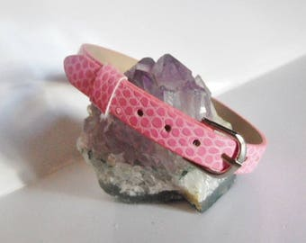 Bracelet pink faux leather effect style snakeskin belt