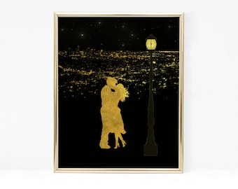 La La Land Poster - Digital Download Night Silhouette Print - Ryan Gosling - Emma Stone - Movie Poster - Printable La la land Print