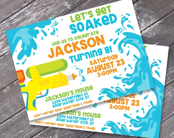 Water Guns & Summer Fun Invitation - Summer Birthday, Beach Party, Water Party | Editable Text - DIY INSTANT Download PDF Printable