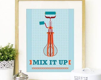 Mid Century Poster Kitchen Art Vintage retro hand mixer illustration inspired in Mid century Art print Posters poster size kitchen wall art