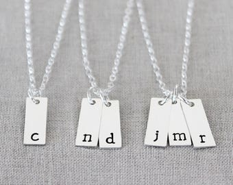 Tiny Bar Necklace, Dainty Tag Necklace, Mini Bar Necklace, Sterling Silver Tiny Initial Bars, Vertical Bars, Mini Tags