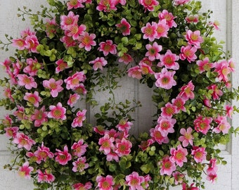 Bright Pink, Spring Wreath, Floral Wreath, Front Door Wreath, Summer Wreath, Easter Wreath, Apple Blossoms