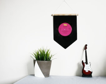 Vinyl Record Pennant Flag | Pink | Music Home Decoration | Wall Hanging