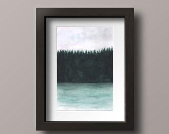 Rain Print - Lake Print - Pine Tree Art - Lake House Decor - Lake and Woods - Lake Artwork - Rain Wall Art - Rain Painting Print - Rain Art