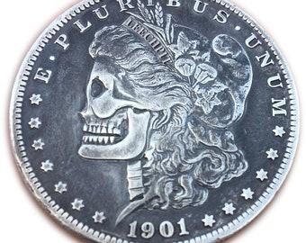 Leech's 1901 Morgan Dollar Skull Hobo Nickel Silver Dollar T-shirt