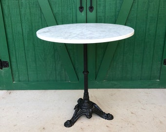 Marble Bistro Table, Cast Iron Pedestal Base, White Marble Top, Ice Cream  Parlor Table, Soda Fountain Table, Victorian, Side Walk Table