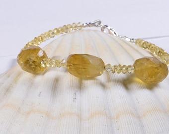 Raw Citrine Bracelet  Raw Citrine CrystalCitrine Jewelry, November birthstone, Gemstone Jewelry