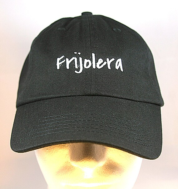 Frijolera - Polo Style Ball Cap (Black with White Stitching)