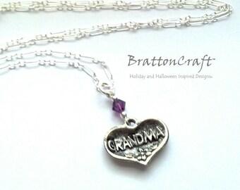 GRANDMA Heart Necklace - Silver Grandma Heart Necklace - Mother's Day Necklace - Grandma Heart Charm Necklace - Mother's Day