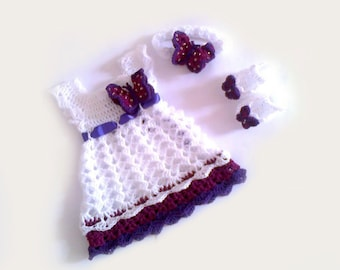 Purple Dress Crochet Dress Newborn Dress Baby Dress,  Butterfly Dress Baby Booties White Baby Dress Christening Outfit Birthday Dress