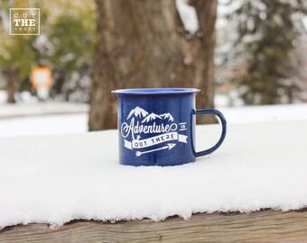 Camping Mug 12 oz, Adventure Mug, Travel Mug, Enamel Mug, Mountain Mug, Enamelware