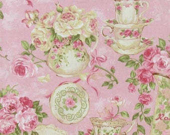 Rose Garden Tea for Two Pink Cotton Calico Fabric