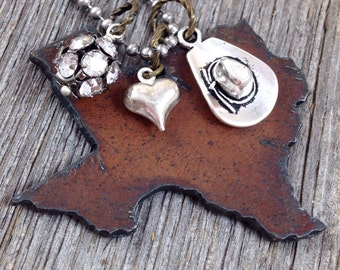 TEXAS Necklace, Large - Texas Jewelry, Texas Pendant, Texas Charm, State Necklace, Rustic Necklace, Rustic Jewelry, Cowgirl Necklace