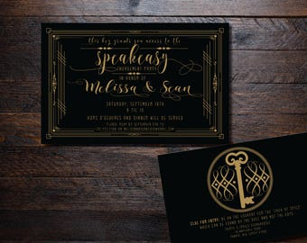 The Speakeasy Great Gatsby Inspired Vintage Invitations