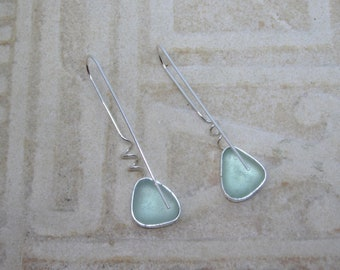 Sea Glass Earrings - Translucent Seafoam Sea Glass and Sterling Earrings