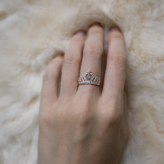 Rose Gold Crown Ring Princess Crown Ring Sterling Silver