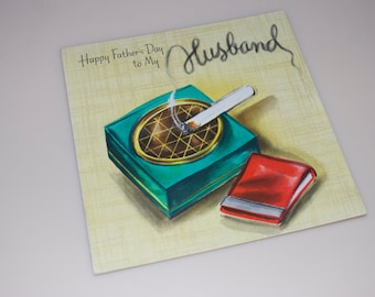 Vintage Father's Day Card To My Husband Cigarettes Ash Tray Hallmark