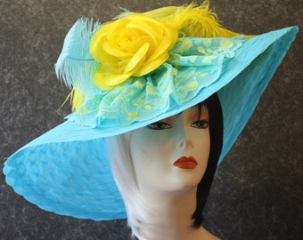 Turquoise Kentucky Derby Hat, Garden Party Hat, Tea Party Hat, Easter Hat, Church Hat, Wedding Hat, Downton Abbey Hat Turquoise Hat 107AP