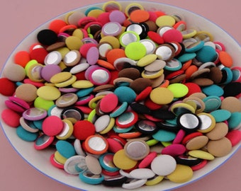 20pcs Mixed Color Fabric Flat Back Buttons,  Flat Back Cloth buttons