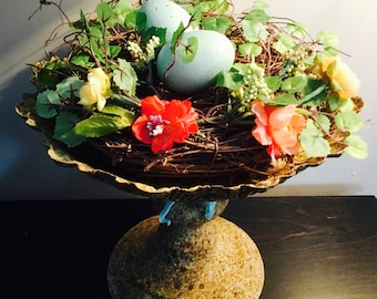 Lg. Rustic metal pedestal with Spring Birds nest and Large Aqua eggs