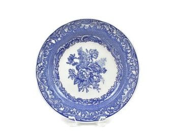 Spode Dinner Plate, Blue and White Transferware Plate, Blue Room Collection, BYRON GROUPS, Made in England, c1990s, Vintage China Plate