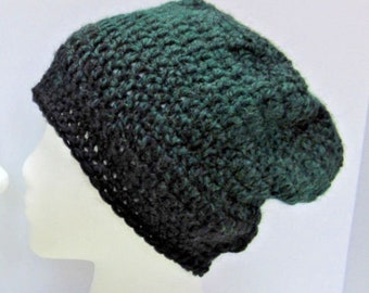 Green Black Wool Slouchy Hat Mans Womans Crochet Knit Cap Large Beanie Oversize Tam Beret Dreadlocks Big Hair BoHo Soft Warm Retro Spring
