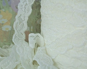 5yds Elastic Lace Stretch Ribbon Ivory Cream off White Stretch Lace Trim 5/8 inch Baby Headbands, lingerie Edging wedding lace