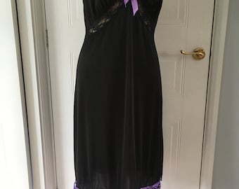 Vintage black and purple upcycled customised dress size 14
