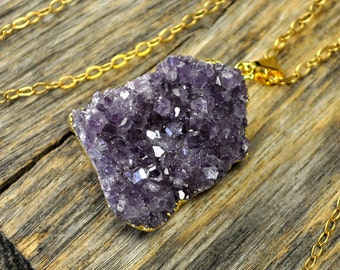 Amethyst Necklace, Purple Amethyst Cluster Pendant, Amethyst Pendant Necklace, Amethyst Gold Necklace, 14k Gold Fill Chain