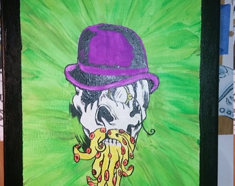 Steampunk skull tentacles monocle blacklight painting