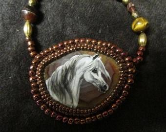 Handpainted Grey Arabian Horse Necklace beaded On Jasper Stone