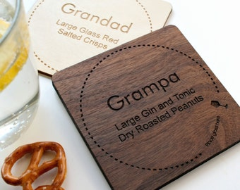 Wooden Drinks Coaster - custom engraved coasters - Personalised drink and snack coaster -  stocking stuffer - xmas gift - natural coasters