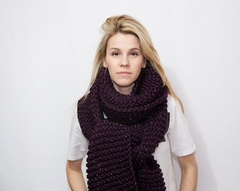 Oversized Knitted Scarf - Long Chunky Scarf - Textured Big Scarf - Extra Long Wrap - SPARKLE SCARF - The BIGO Open Ended Scarf - Pick Color