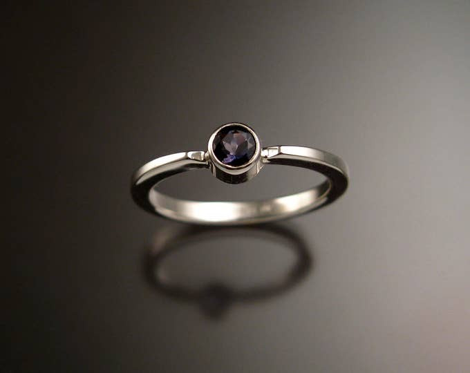 Iolite stackable ring Sterling Silver bezel set natural stone Sapphire substitute ring made to order in your size